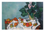 Still Life with Apples and a Pot of Primroses Posters by Paul Cézanne