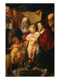 The Holy Family with Saint Anne and the Young Baptist and His Parents Prints by Jacob Jordaens