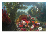 Basket of Flowers Print by Eugene Delacroix
