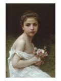 Petite fille avec Un Bouquet Poster par William Adolphe Bouguereau