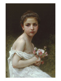 Little Girl with a Bouquet Print by William Adolphe Bouguereau