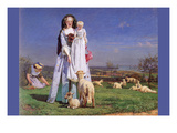 Pretty Baa Lambs Print by Ford Madox Brown