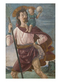 Saint Christopher and the Infant Christ Mural Plakater af Domenico Ghirlandaio
