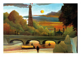 Eiffel Tower at Sunset Premium Giclee Print by Henri Rousseau