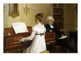 The Piano Lesson Affiche par Edmund Blair Leighton