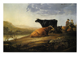Young Herdsmen with Cows Poster by Aelbert Cuyp