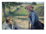 Two Young Peasant Women Posters par Camille Pissarro