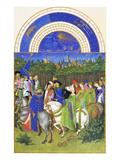 Le Tres Riches Heures Du Duc De Berry - May Print by Paul Herman & Jean Limbourg
