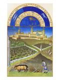 Le Tres Riches Heures Du Duc De Berry - March Prints by Paul Herman & Jean Limbourg