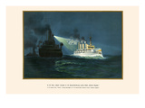 "H.M. Dispatch Boat ""Wacht"" Turning Searchlight on H.M. 2nd Class Protected Cruiser Posters by G. Arnold"