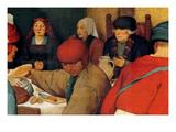 Wedding Banquet - Detail Premium Giclee Print by Pieter Breughel the Elder