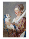Portrait of a Woman with a Dog Poster by Jean-Honoré Fragonard