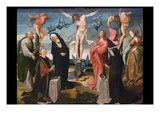 The Crucifixion with Donors and Saints Peter and Margaret, Posters af Cornelis Engebretsch