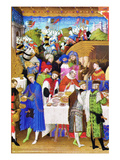 Le Tres Riches Heures Du Duc De Berry - January Plakater af Paul Herman & Jean Limbourg