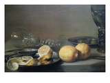 Still Life with Two Lemons, a Facon De Venise Glass, Roemer, Knife and Olives on a Table Print by Peter da Heem