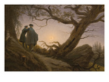 Two Men Contemplating the Moon Premium Giclee Print by Caspar David Friedrich