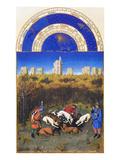 Le Tres Riches Heures Du Duc De Berry - December Kunstdrucke von Paul Herman & Jean Limbourg