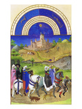 Le Tres Riches Heures Du Duc De Berry - August Póster por Paul Herman & Jean Limbourg