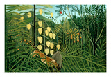 In a Tropical Forest; Tiger Attacks a Buffalo Plakater af Henri Rousseau