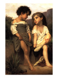 At the Edge of the Brook Print by William Adolphe Bouguereau