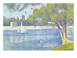 The Seine by the Island of Jatte in Spring Premium Giclee Print by Georges Seurat
