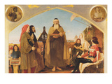John Wycliffe Reading His Translation of the Bible to John of Gaunt Premium Giclee Print by Ford Madox Brown