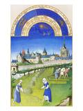 Le Tres Riches Heures Du Duc De Berry - June Poster af Paul Herman & Jean Limbourg