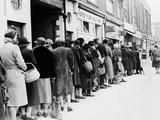 WWII Butcher Shop Line Photographic Print
