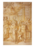 Sibylle Announcing the Birth of Christ to Emperor Augustus by Riccio Prints by Andrea Riccio