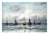 A Fishing Fleet Premium Giclee Print by Hendrik William Mesdag