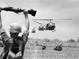 Vietnam War US Helicopters Photographic Print by Henri Huet