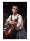 Gypsy with a Basque Drum Print by William Adolphe Bouguereau