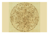 Celestial Map of the Mythological Heavens with Zodiacal Characters Print by Sir John Flamsteed