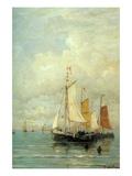A Moored Fishing Fleet Prints by Hendrik William Mesdag