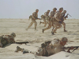 Saudi Arabia Army U.S Forces Maneuver Exercise Kuwait Crisis Photographic Print by Peter Dejong
