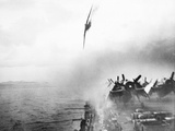 WWII Kamikaze Aims USS Sangamon Photographic Print by  Anonymous
