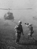 Vietnam War US Helicopter Landing Photographic Print by Henri Huet