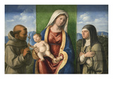 Madonna and Child with Francis and Clare Poster by Giovanni Battista Cima