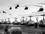 Vietnam War U.S. Helicopters Gas Photographic Print by Henri Huet