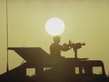 Saudi Arabis Army U.S. Air Force Security Policeman M-60 Machine Gun Photographic Print by Bob Daugherty