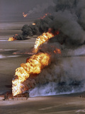 Gulf War 1991 Kuwait Burning Oil Field Photographic Print by Greg Gibson