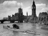 WWII London Thames U-Boat 1945 Photographic Print by  Anonymous