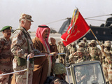 Gen. H. Norman Schwarzkopf with Saudi Arabian King Fahd Reviewing Troops Photographic Print by  Anonymous