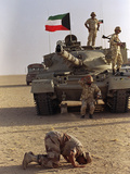 Saudi Arabia Army Saudi Soldier Praying Tank Photographic Print by J. Scott Applewhite