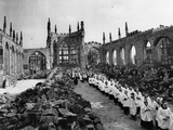 WWII Coventry Cathedral Ruins Photographic Print by  Anonymous