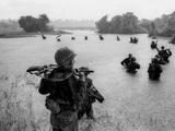 Vietnam War Paratroopers Rain Photographic Print by Henri Huet
