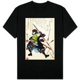 Ronin Fending off Arrows, Japanese Wood-Cut Print T-shirts