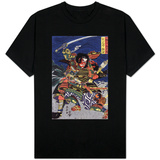 The Samurai Warriors Ichijo Jiro Tadanori and Notonokami Noritsune, Japanese Wood-Cut Print T-shirts