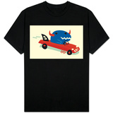 Blue Horned Dino in Racecar Shirts