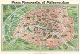 Art Nouveau Paris Map 1920 Prints
